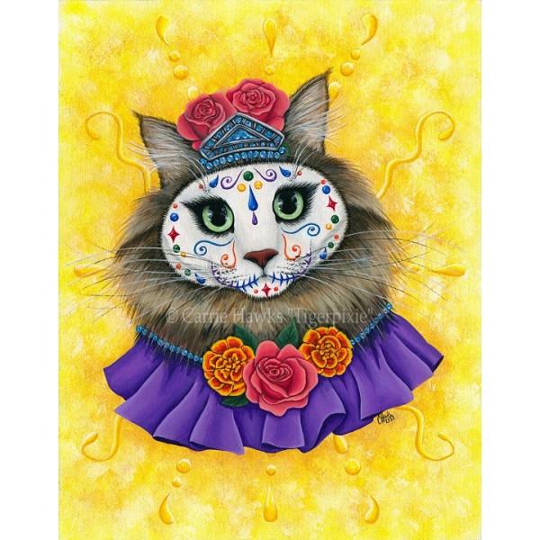 Bookmark Day Of The Dead Cat Princess D 237 A De Los Muertos