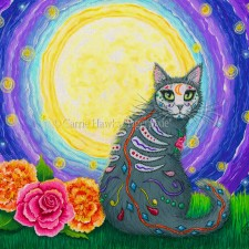 Tigerpixie Update! New Art! Day of the Dead Cat Moon & 2018 Calendar! The Rabbits July Auction