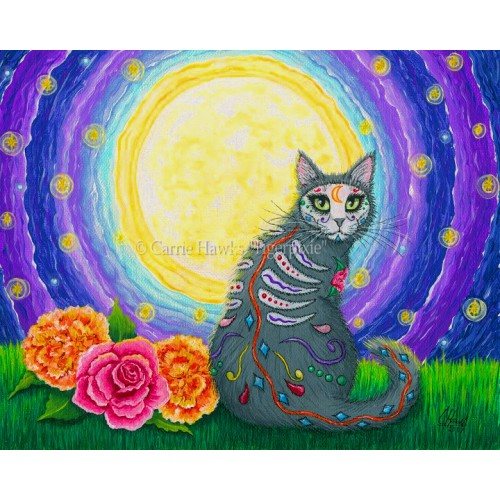 Prints - Day of the Dead Cat Moon