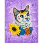 Prints - Day of the Dead Cat Sunflowers