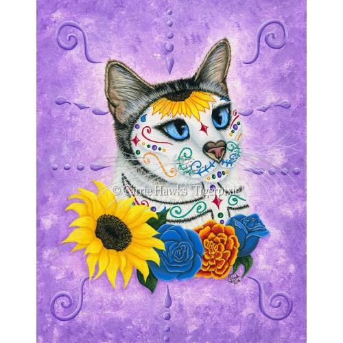 LE Canvas - Day of the Dead Cat Sunflowers