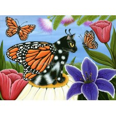 LE Canvas - Monarch Butterfly Fairy Cat