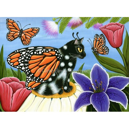 LE Canvas - Monarch Butterfly Fairy Cat
