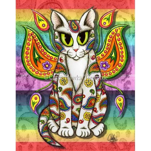 Prints - Rainbow Paisley Fairy Cat