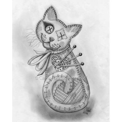 Prints - Voodoo Cat Doll Drawing