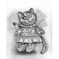Prints - Voodoo Empress Fairy Cat Doll Drawing