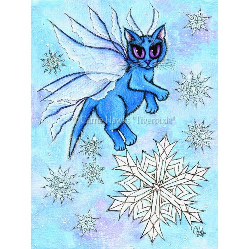 Prints - Winter Snowflake Fairy Cat