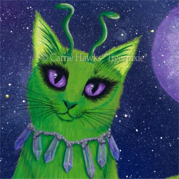Alien Cat Green Cat Purple Crystals Art Print