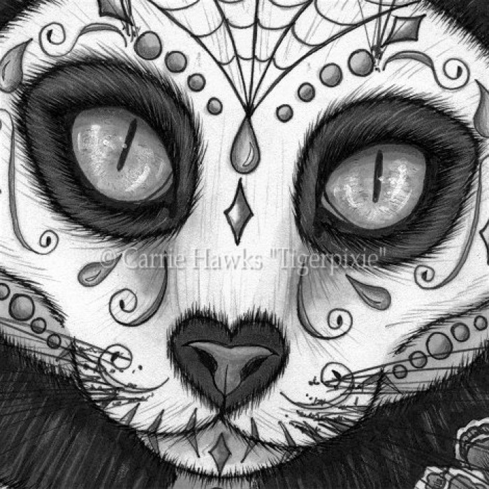 Day of the Dead Cat Skull, Black Cat, Día de los Muertos ...