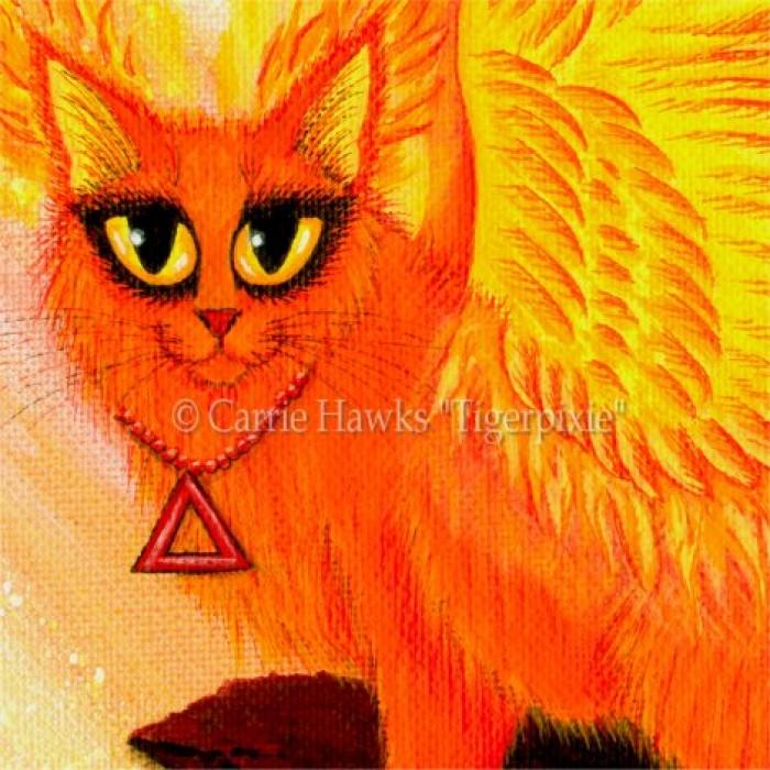 Elemental Fire Fairy Cat, Phoenix Cat, LE Canvas Print ...