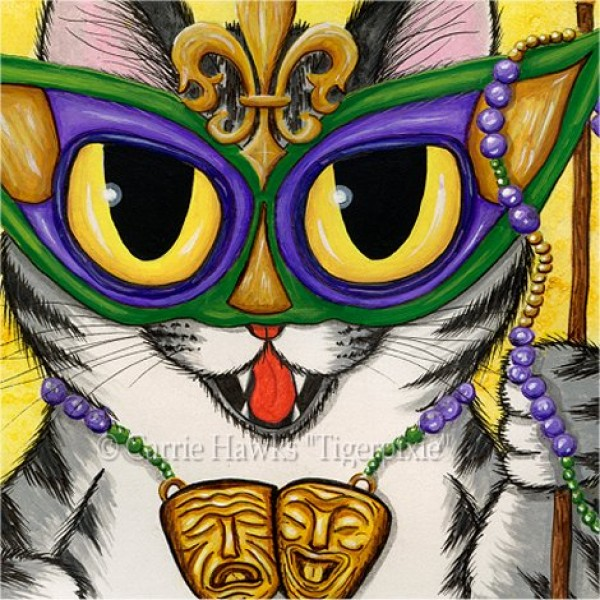 Lil Mardi Gras Cat Tabby Cat New Orleans Art Print Tigerpixie Fantasy Cat Art