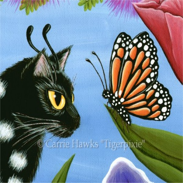 Monarch Butterfly Fairy Cat Art Print Tigerpixie Fantasy