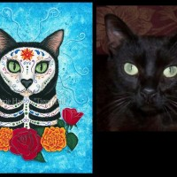 Day of the Dead Cat, 12x16 Acrylic Painting