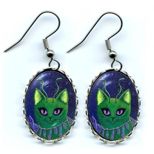 Earrings - Alien Cats