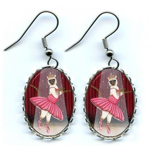 Earrings - Ballerina Cat
