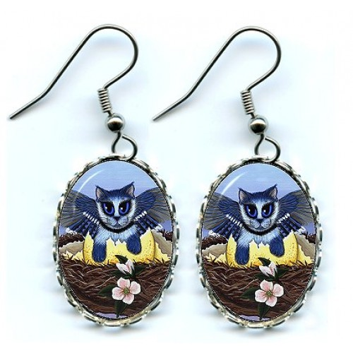 Earrings - Blue Jay Kittens