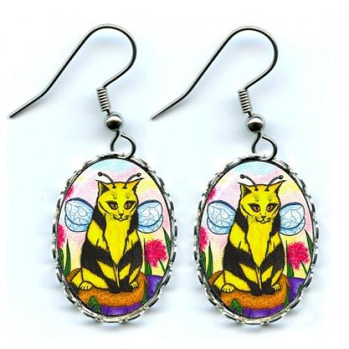 Earrings - Buzz Bumble Bee Cat