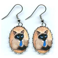 Earrings - Siamese Coffee Cat