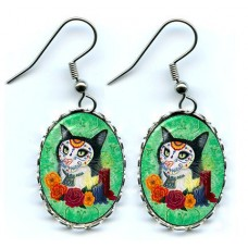 Earrings - Day of the Dead Cat Candles