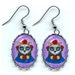 Earrings - Day of the Dead Cat Gal