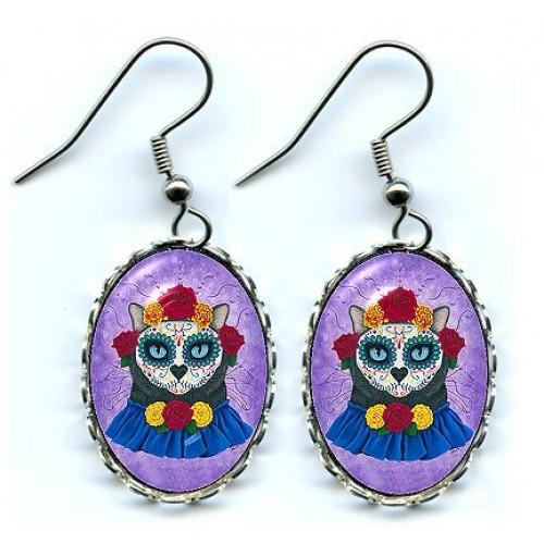 Earrings - Day of the Dead Cat Gal