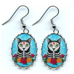 Earrings - Day of the Dead Cat