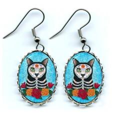 Earrings - Day of the Dead Cat