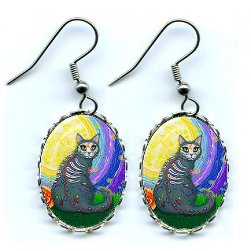 Earrings - Day of the Dead Cat Moon