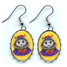 Earrings - Day of the Dead Cat Princess