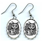 Earrings - Day of the Dead Cat Skull