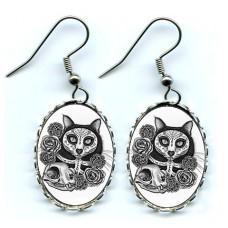 Earrings - Day of the Dead Cat Skull