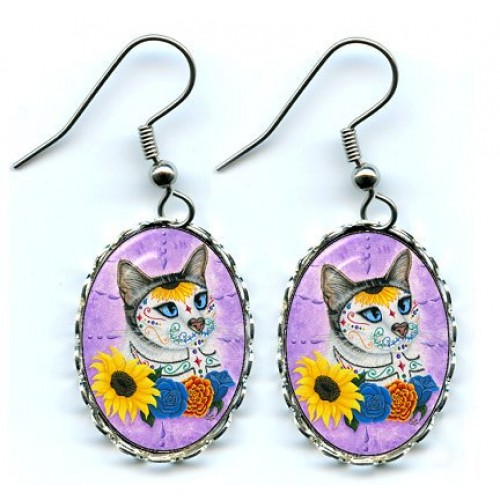 Earrings - Day of the Dead Cat Sunflowers