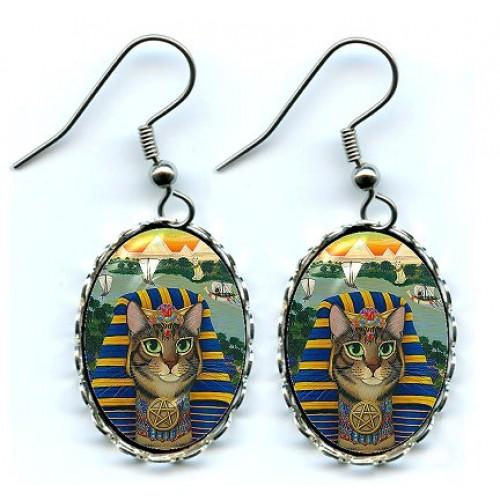 Earrings - Egyptian Pharaoh Cat