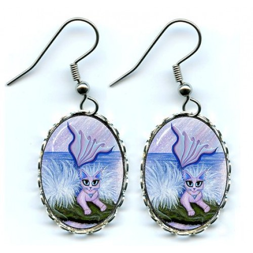 Earrings - Elemental Water Mermaid Cat