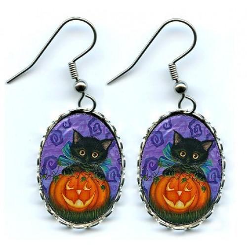 Earrings - Halloween Black Kitty