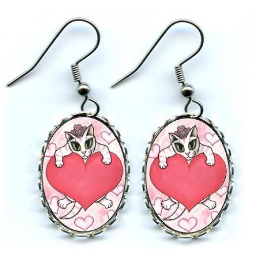 Earrings - Kitten With Heart