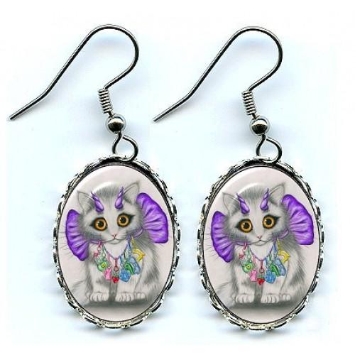 Earrings - Little Purple Horns