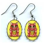 Earrings - Maneki Neko Protection Cat