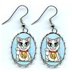 Earrings - Maneki Neko Purity Cat