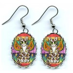Earrings - Rainbow Paisley Fairy Cat