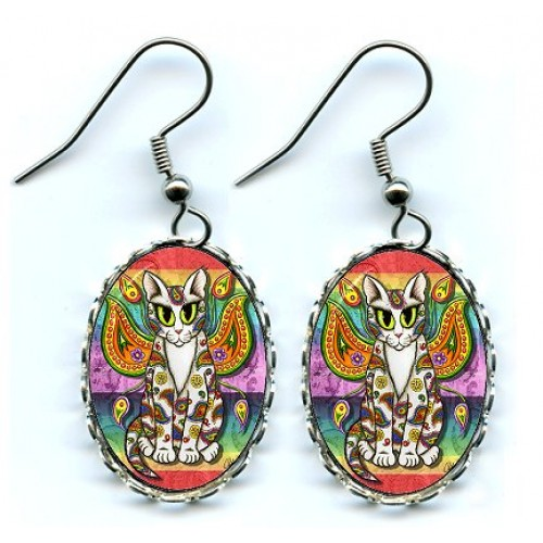 Earrings - Rainbow Paisley Fairy Cat