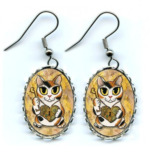 Earrings - Steampunk Valentine Cat