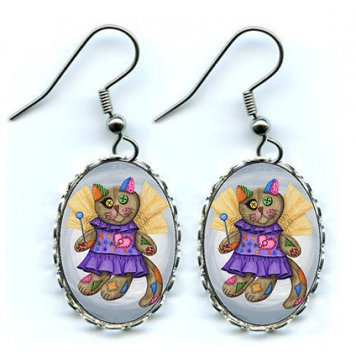 Earrings - Voodoo Empress Fairy Cat Doll
