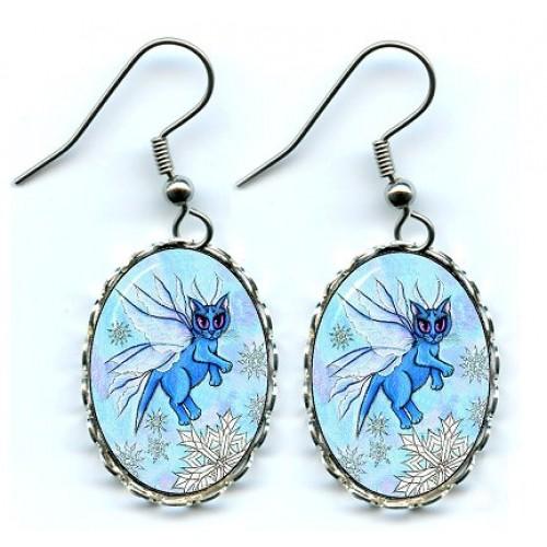Earrings - Winter Snowflake Fairy Cat