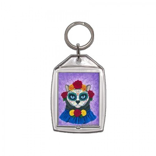 Keychain - Day of the Dead Cat Gal
