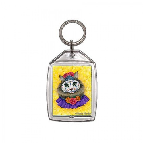 Keychain - Day of the Dead Cat Princess