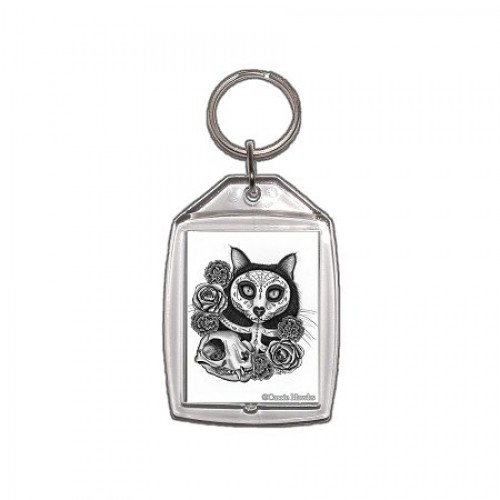 Keychain - Day of the Dead Cat Skull