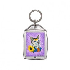 Keychain - Day of the Dead Cat Sunflowers