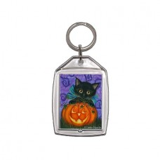 Keychain - Halloween Black Kitty