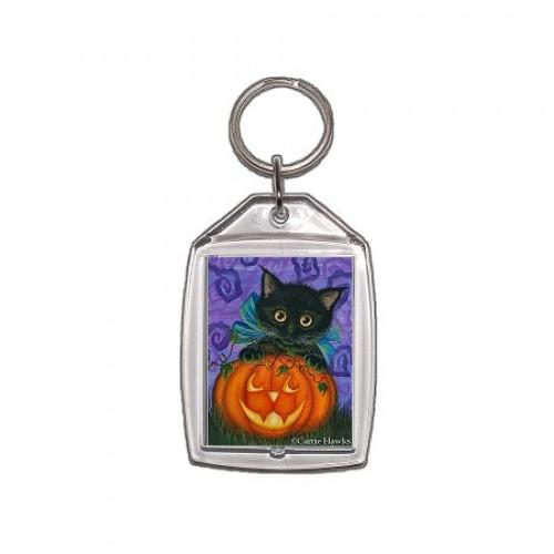 Keychain - Halloween Black Kitty